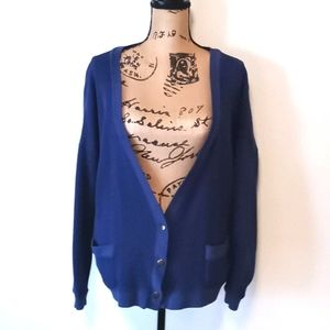GAP Blue Waffle Knit V-Neck Button Cardigan